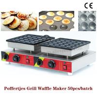 Çift Tavalar Küçük Gözleme Makinesi Poffertjes Makinesi Yapışmaz Tava Poffertjes Izgara ile Waffle Makinesi ile 50 adet Kalıpları