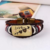 Leather Lover's Bracelet An Arrow Through A Heart Pattern Br...