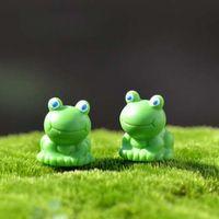 2pcs Miniature Frog Resin Craft Fai da te Animal Artigianato decorativo Miniature Fairy Garden Decor Micro Paesaggio Terrario Figurine