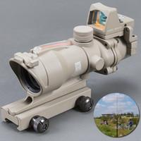 Trijicon ACOG 4X32 تان التكتيكية ريال الألياف البصرية الأحمر مضيئة تلسكوب الموازاة البصر ريد دوت الصيد riflescope