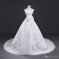 White Ivory Floor Length Strapless Beads Lace Wedding Dress ...