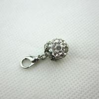 Venta caliente 20 unids / lote pavo real blanco cristal de diamantes de imitación ronda cuelga encantos de langosta broche encantos de vidrio medallones flotantes encantos