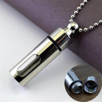 Mens Necklace Stainless Steel Glass Cylinder Aromatherapy Es...