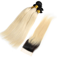 Brazilian Virgin Ombre 1B 613 Blonde Bundles With Frontal Ea...
