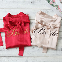 Personalized bride and bridesmaid satin robes embroidery log...