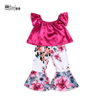 Mikrdoo 2018 Summer Cute Kids Baby Girl Clothes Set Top sin mangas con volantes florales Floral Flojo Bottoms 2PCS Outfit Toddler Sweet Suit
