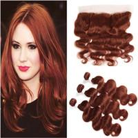 # 33 Dark Auburn Virgin Brazylijski Human Hair Bundles Oferty z Frontal Body Wave Reddish Brown Human Hair Weaves z 13x4 Full Lace Frontal