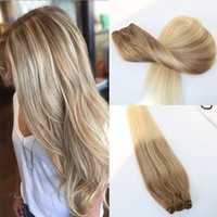 Virgin Remy Human Hair Extensions Ombre #8 to #60 Blonde Hair Weft Slik Straight Balayage Hair Bundles Balayage Unprocessed Brazilian Weave