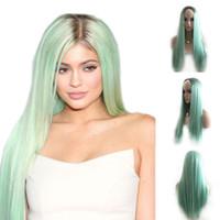 Ombre verte droite longue perruque synthétique avec perruque synthétique et perruque naturelle noire / verte