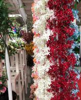 Flores artificiales de la lila Vid hermosa de la rota para las decotaciones de la boda Encripción de la secuencia de la flor Ornamento de la guirnalda de Cherry Blossom Home AF06