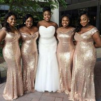 Off Shoulder Mermaid Champagne Long Bridesmaid Dresses Sequined Back Zipper Floor-Length Custom Made Maid Of Honor Gowns Beautiful