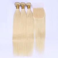 ALIMAGIC 613 Bionda capelli umani Bilantuosi Capelli brasiliani Tessuto Bundles con chiusura Blond, Remy Deals Capelli 3 Bundles and Chiusure
