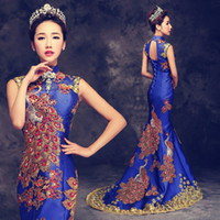 Luxury Blue Red Embroidered Chinese Evening Dress gorgeous Long Cheongsam Bride Wedding Qipao Mermaid Host Dresses Oriental Qi Pao