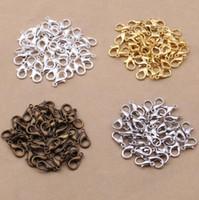1000 unids 12 mm cierres de langosta de metal ganchos de oro / rodio ganchos de la langosta cierres para la joyería que hace la búsqueda del collar de bricolaje