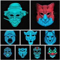 Party Dress Up Halloween Theme Fashion Cool Mask LED Light L...
