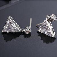 luxury jewelry S925 sterlig silver needle earrings for women triangle charm stud earrings hot fashion free of shipping