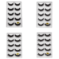 5 paires / set 3D Vison Faux EyeLashes Main En Plastique Naturel Noir Coton Pleine Bande Épaisse Faux Cils Cosmétique