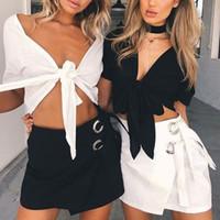 أزياء النساء تنورة الصيف مثير البسيطة حزب التنانير عالية الخصر أسود أبيض الدانتيل العروة إمرأة التنانير قلم رصاص