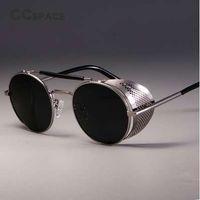 CCSPACE Retro Runde Metall Sonnenbrille Steampunk Männer Frauen Marke Designer Gläser Oculos De Sol Shades UV Schutz