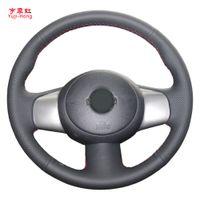 Yuji-Hong Auto Lenkabdeckungen Fall für Nissan März Versa Hinweis Sunny 2011 Auto Rad Hand-genäht Künstliche Mikrofaser Leder