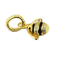 Autentico 925 Sterling Silver Gold-Color Color Queen Bee Pendant Shine Black Smalto Smalto Chiaro Branelli di cristallo Fit Braccialetti Winsome Gioielli fai da te