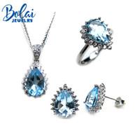 Mode Silber Krone Schmuck-set Für Frau Natürliche Sky Blue Topas Schmuck Sterling Silber Topas Ring Ohrringe Anhänger Schmuck Schmucksets