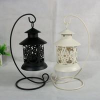 Portavelas de hierro huecos retro 2 colores Soporte para candelabro de soporte colgante para evento de boda Decoración del hogar