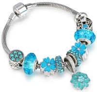 perline stile bohemien di vetro blu di Murano con la catena aragosta serpente, 10pcs 925 bracciali in argento placcato e lega incanta, incanta moda donna