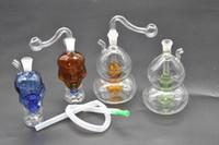 다채로운 미니 두개골 조롱박 유리 오일 장비 Bongs 물 파이프 여과기 Downstem 흡연 담배 파이프 10mm 그릇과 석유 조작 삭을 재활용