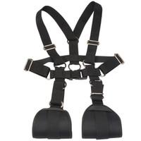 BDSM M Open Leg Restraints Körpergeschirr Strap Bondage Gear mit Handschellen für einfachen Zugang Sexual Play Black Nylon BX734A