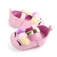 طفل رضيع بنات زهرة يونيكورن أحذية بو الجلود الأحذية لينة وحيد سرير أحذية ربيع الخريف أول مشوا 0-18 متر