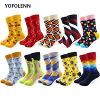 10 pares / porción de los hombres de colores divertidos de algodón peinado feliz calcetines múltiples patrones de rayas de argyle de dibujos animados punto novedad patineta arte calcetines