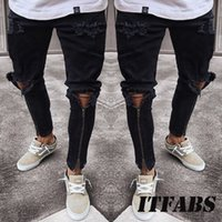 Tallas grandes Jeans Hombres Miedo de Dios Ripped Skinny Jeans Hombres Slim Fit Urban Straight Zipper Pierna Mens Pencil Cool Street Wewar