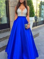 royal blue A- Line Satin V- Neck Long Elegant Prom Dress Bead ...
