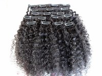 Grampo de cabelo humano encaracolado Kinky brasileiro do Virgin na trama grossa 120G da cor preta natural das extensões do cabelo