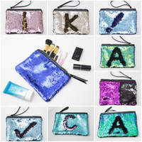 Fashion Woman Makeup Handbag Reversible Glitter Mermaid Sequ...
