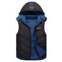 Homens Outono-Inverno Quente Jacket Vest mangas Exército Colete Men Double Side Usar Vest Moda Casual Coats pena de Down Grosso