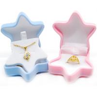 Мода Морская Звезда Коробка Ювелирных Изделий Ожерелье Уха Шпильки Кольцо Бархат Дисплей Коробка Для Подарка Участия Свадьба Ящик Для Хранения