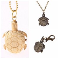 Vintage Turtle Fob Pocket Watch Golden Bronze Tortoise Neckl...