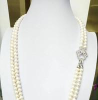 seltene schöne Doppelstränge 9-10mm Südsee runde weiße Perlenkette Doppelstränge 9-10mm Südsee runde weiße Perlenkette 20 21