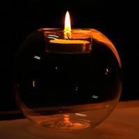 جديد المحمولة جولة جوفاء الكلاسيكية الكريستال شفاف الزجاج شمعة حامل الزفاف شريط حزب ديكور المنزل الشمعدان