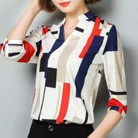 Şık Uzun Kollu Yaz Bahar Sonbahar Kadın Bluz Baskı Ekose Moda Ince Gömlek Top OL Ofis Kadın Giyim