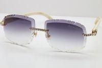 Occhiali Trimming Donne Occhiali da sole Nuove pietre senza montatura Sole Bianco naturale T8200762 Hot grande grande Auto-Made Lens Genuine Uomini scolpiti CWEPQ
