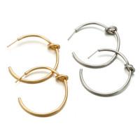 الجملة المألوف بسيطة شبه دائرة عقدة أقراط مجوهرات الذهب والفضة القرط هدية خاصة للبنين بنات