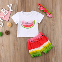 Summer Baby Girls Clothes Watermelon Time T- shirt+ Shorts+ Hea...