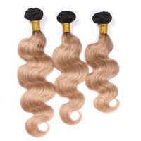 Peruanische Honey Blonde Ombre Menschenhaar-Webart-Verlängerungen Körper-Wellen-Wellenförmige 3Pcs # 1B / 27 Hellbraun Ombre Jungfrau-Menschenhaar Bundles Angebote