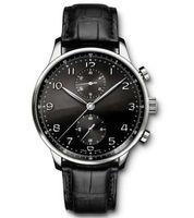 Venta caliente Relojes de lujo Marca Hombres Mira el nuevo cronógrafo portugués Negro Dial 40mm Watch I371447 Wristwatches