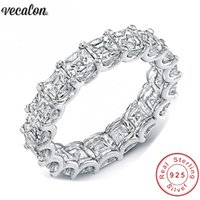 Vecalon Women Wedding Bands Ring 925 Sterling Silver Princes...