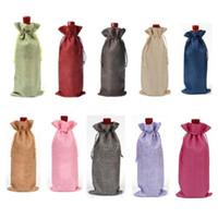 Rustik Jüt Çuval Bezi Şişe Çanta İpli Şarap Şişesi Düğün Parti Şampanya Keten Paket Hediye Çanta Kapakları 15 * 35 cm