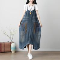 Frauen plus Größe Baggy Cross Strampler Hosen Vintage Drop Crotch Overalls Washed Print Denim Overalls Hip-Hop Harem Jeans